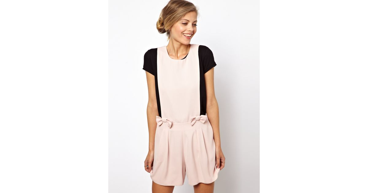 8c7818e493f Lyst - ASOS Playsuit with Bow Front in Pink