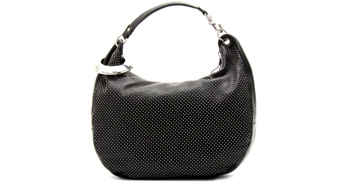 b25385188581 Lyst - Jimmy Choo Solar L Studded Leather Hobo Bag in Black
