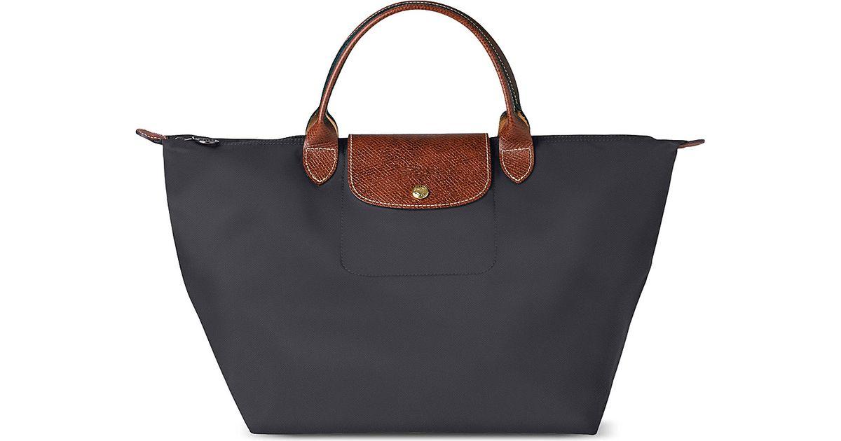 cfe3f200544 Longchamp Le Pliage Medium Handbag in Fusil Fusil in Black - Lyst