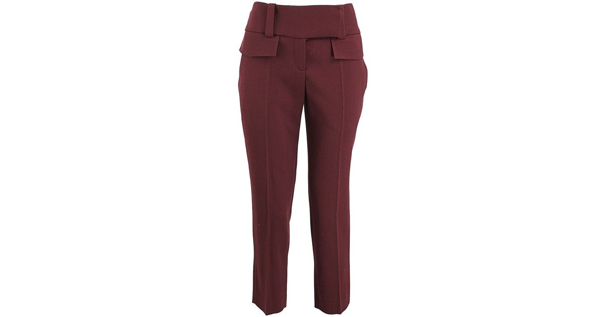 Alexander Mcqueen Flat Front Tab Closure Pants In Red Lyst