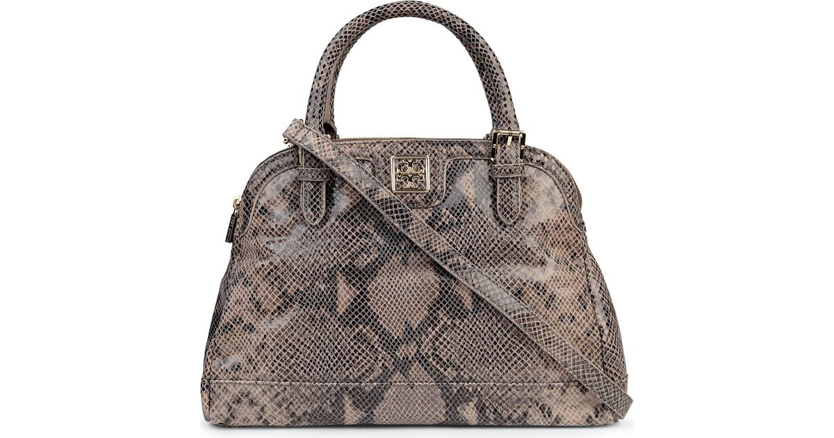 effdca72aed2 Tory Burch Catalina Leather Satchel in Gray - Lyst