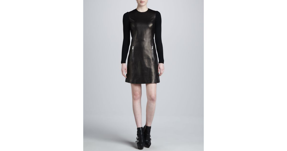 Lyst Michael Kors Leather Dress With Ribbed Sleeves In Black