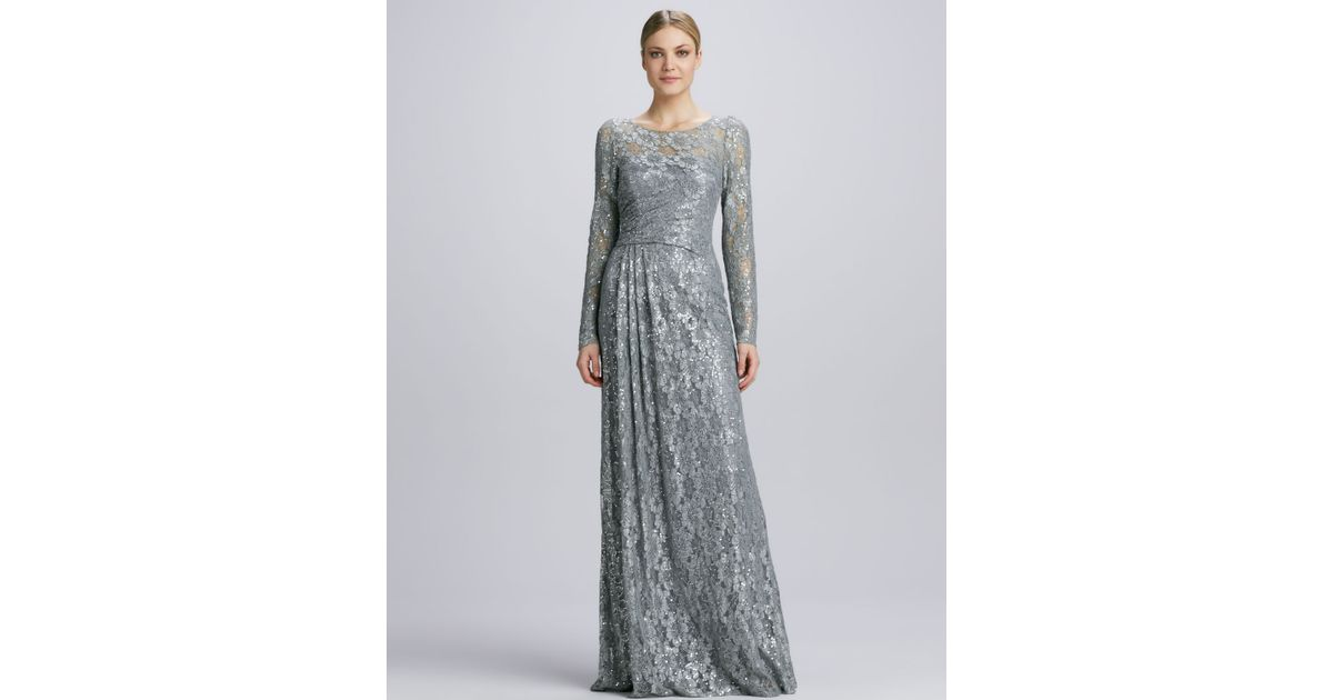 Lyst - David Meister Illusion Sequined Lace Overlay Gown in Metallic