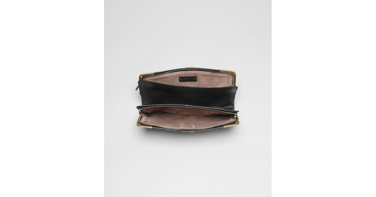60129e0dba Lyst - Bottega Veneta Nero Waxed Leather Metal Clutch in Black