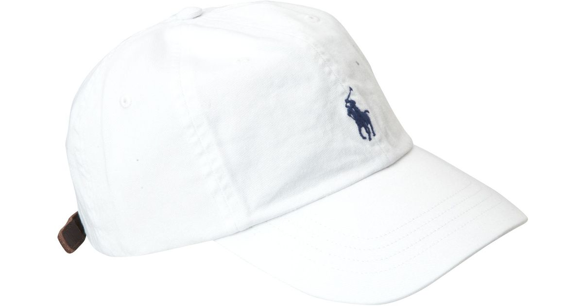 polo ralph lauren logo cap in white for men lyst. Black Bedroom Furniture Sets. Home Design Ideas