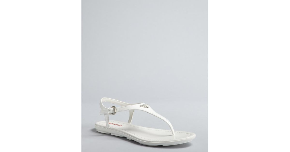 7081b97d01d6c Lyst - Prada Sport White Patent Leather Logo Thong Sandals in White