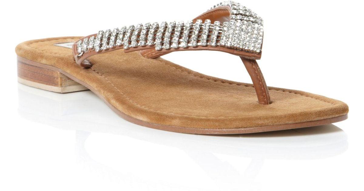 Dune Keeper Diamante Toe Post Flip Flop Sandals In
