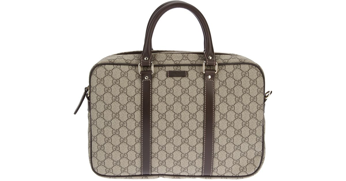 9b65a5aca0c Lyst - Gucci Monogrammed Laptop Bag in Natural for Men