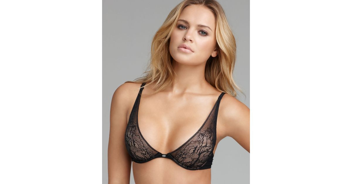 7343d0500c9 Lyst - Calvin Klein Convertible Bra Naked Glamour Lace Plunge in Black