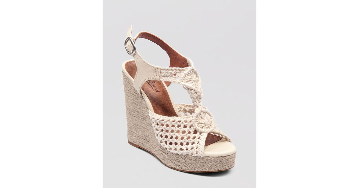 6f904666887 Lyst - Lucky Brand Wedge Platform Sandals Rilo Crochet in Natural