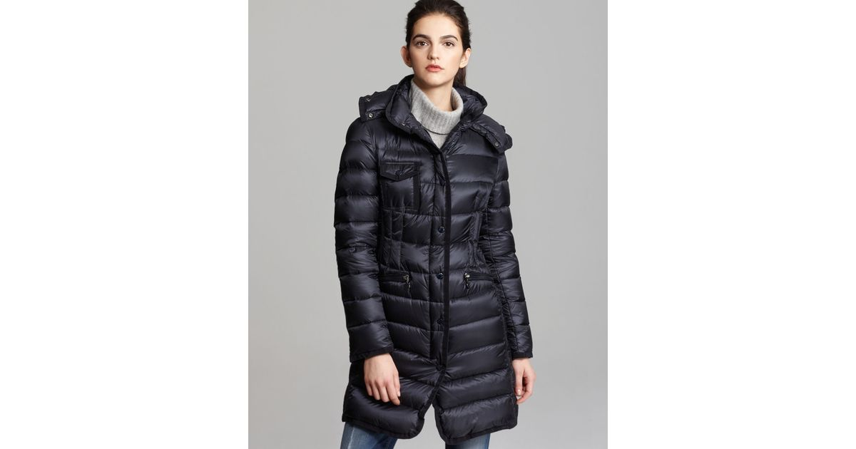 3354fc944466 ... hot lyst moncler hermine collar down coat in blue ae759 fed89