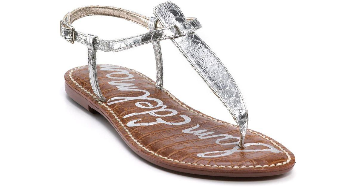 3bc10ae2c Sam Edelman Gigi Flat Sandals in Metallic - Lyst