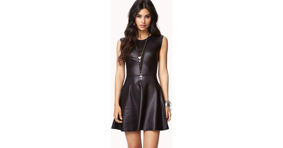 Lyst - Forever 21 Faux Leather Mesh Skater Dress in Black 13233524c