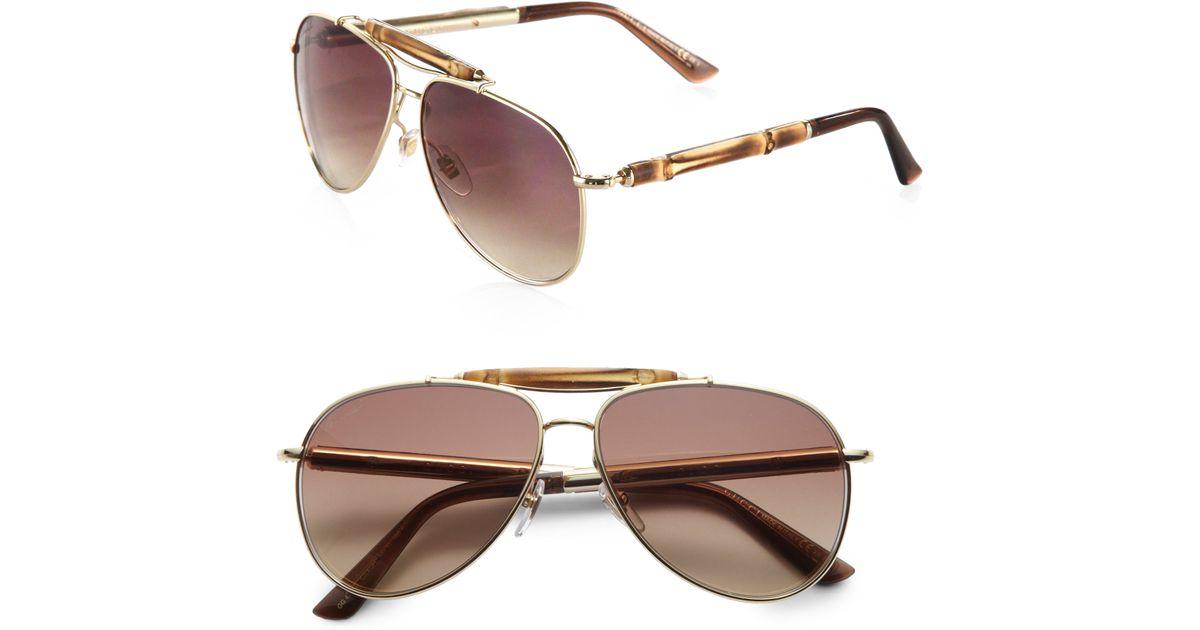 3ed982b9f97 Lyst - Gucci Bamboo Aviator Sunglasses in Metallic