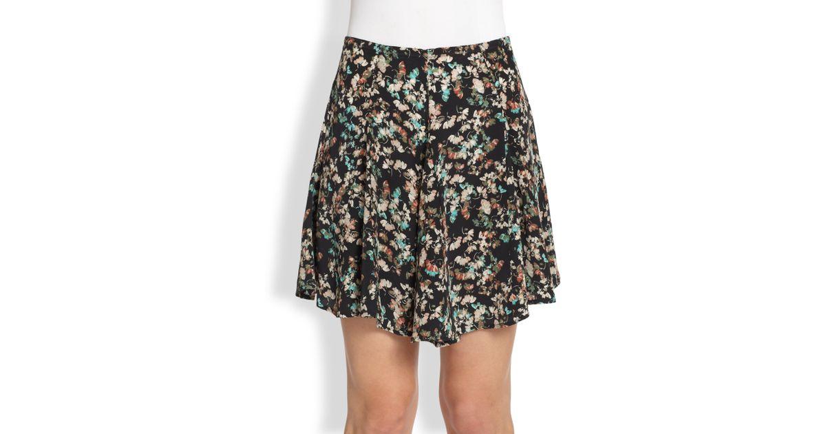 0a1f57ebf2 Pjk Patterson J. Kincaid Nola Silk Floral Skirt in Black - Lyst