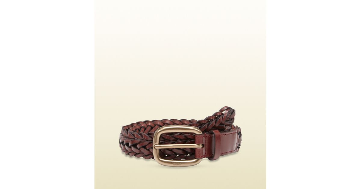 87bb94d0926 Gucci Braided Leather Belt with Square Buckle in Brown for Men - Lyst