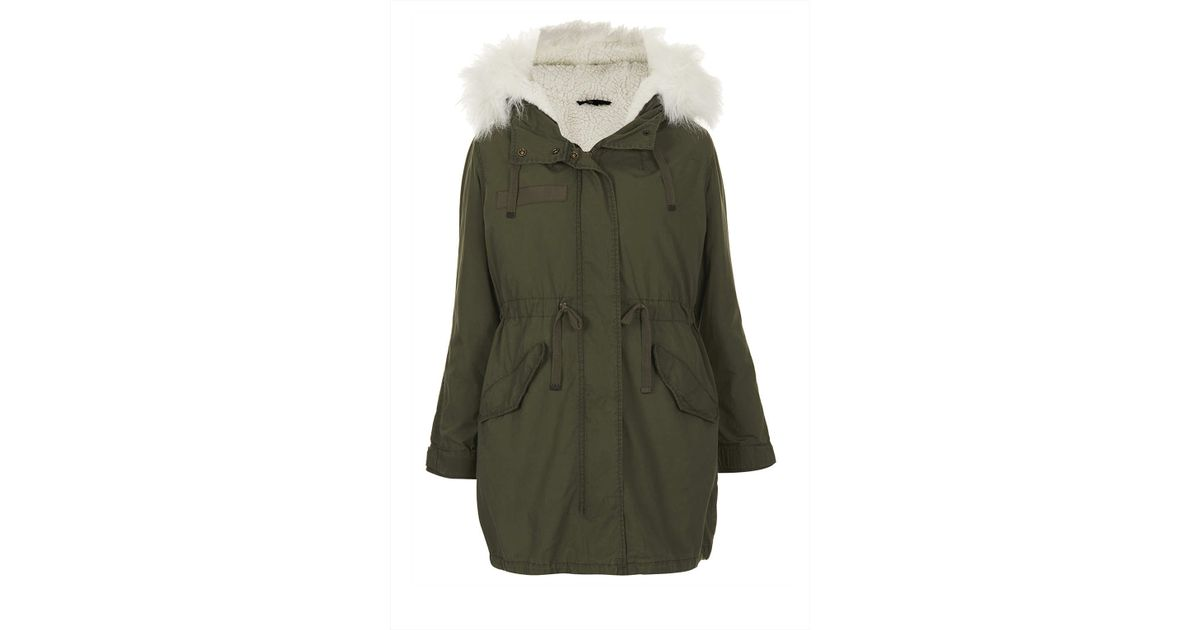 Topshop Petite Khaki Parka Coat in Natural | Lyst
