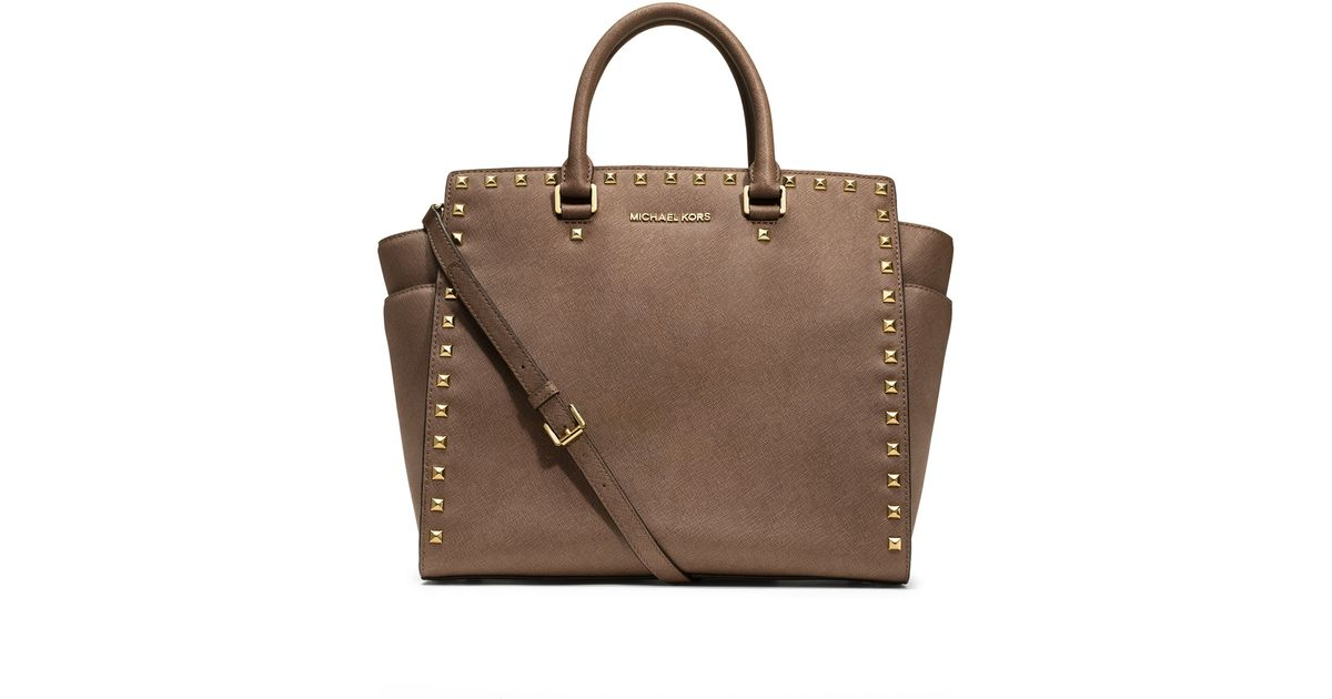 4ea22bfb2ad0 Lyst - Michael Kors Large Selma Studded Saffiano Tote in Brown