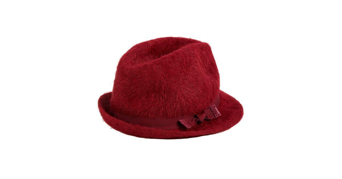 42a60750381 Lyst - Hat Attack Dark Red Angora Fedora Hat in Red