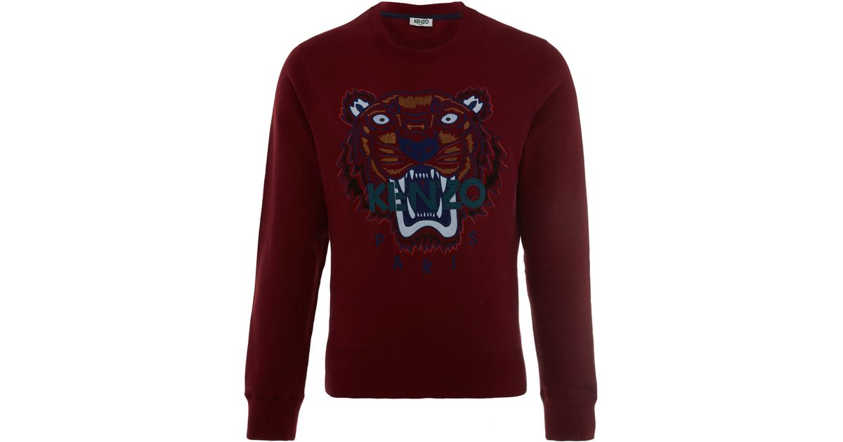 1b39a8e4 KENZO Burgundy Tiger Motif Sweatshirt in Red for Men - Lyst