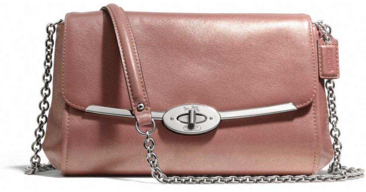 6b34fff3044cf ... good coach madison chain crossbody in metallic leather in pink lyst  c7d19 9eb56 ...