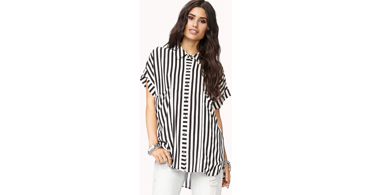 2a19b011 Forever 21 Mod Vertical Striped Shirt in White - Lyst
