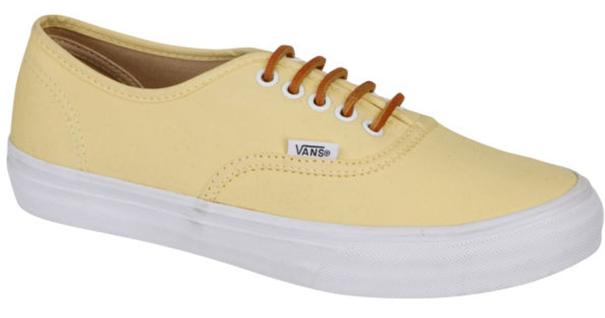 Vans Authentic Slim Brushed Twill Trainer in Yellow for Men - Lyst d00059392