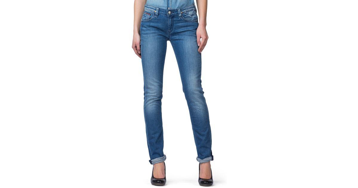 tommy hilfiger naomi slim fit jeans in blue lyst. Black Bedroom Furniture Sets. Home Design Ideas