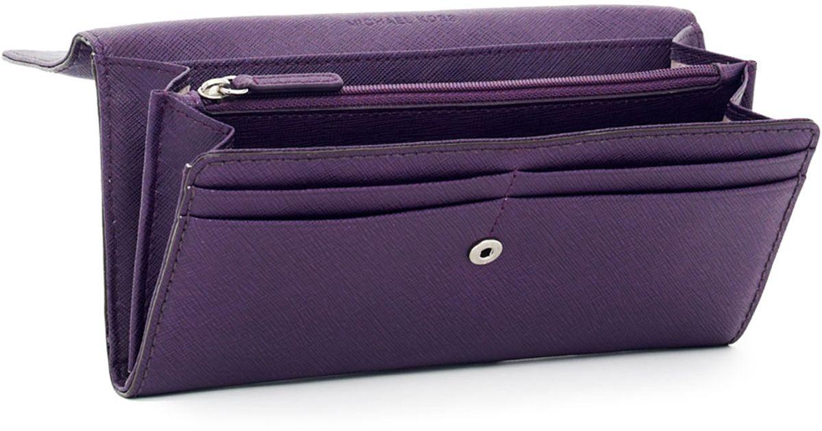 e8fb7a68691f Lyst - MICHAEL Michael Kors Hamilton Large Saffiano Wallet in Purple