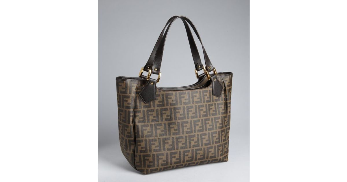... amazon lyst fendi tobacco zucca spalmati and leather tote bag in brown  0b36a 11cc3 cd1a0ad5c42b9