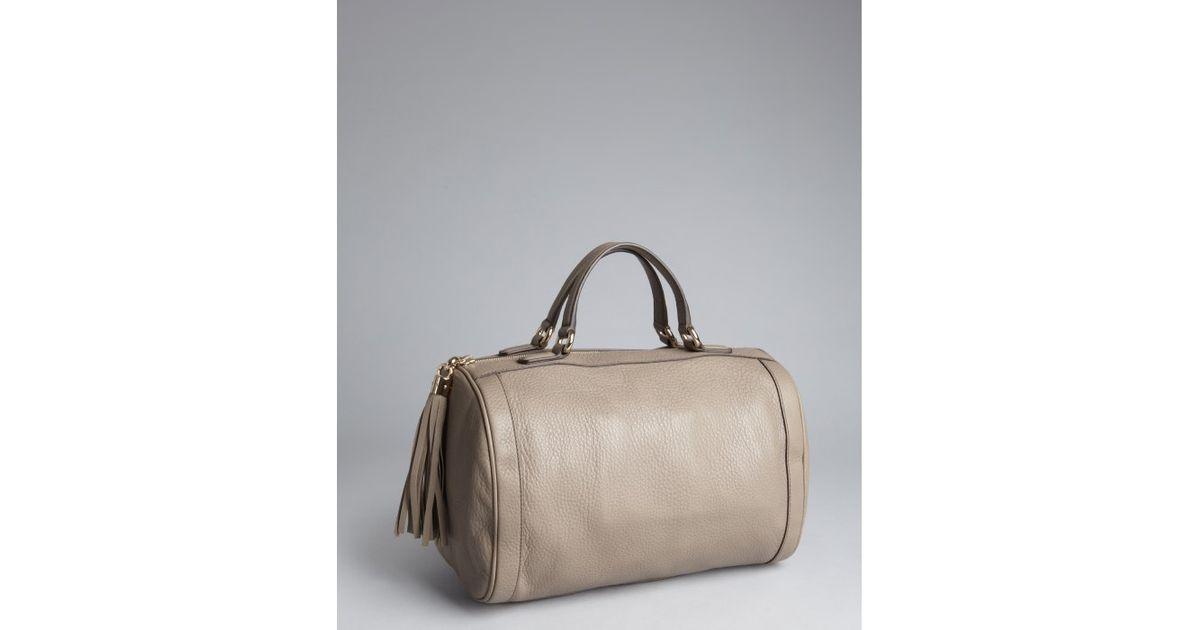 b1b4d316bc Lyst - Gucci Greige Leather Soho Tassel Detail Boston Bag in Gray