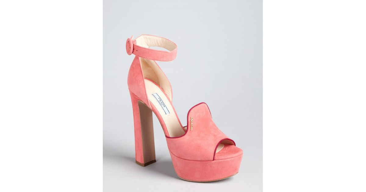 e0c476f1846c ... shopping lyst prada pink and plum suede loafer ankle strap platform  pumps in pink d8927 70256