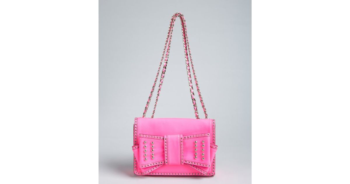 Lyst Rebecca Minkoff Hot Pink Patent Leather Studded Bow Sweetie Shoulder Bag In