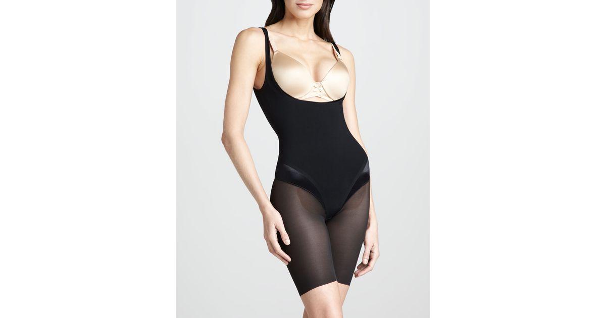 6a257c6240206 Lyst - Spanx Haute Contour Openbust Bodysuit in Black
