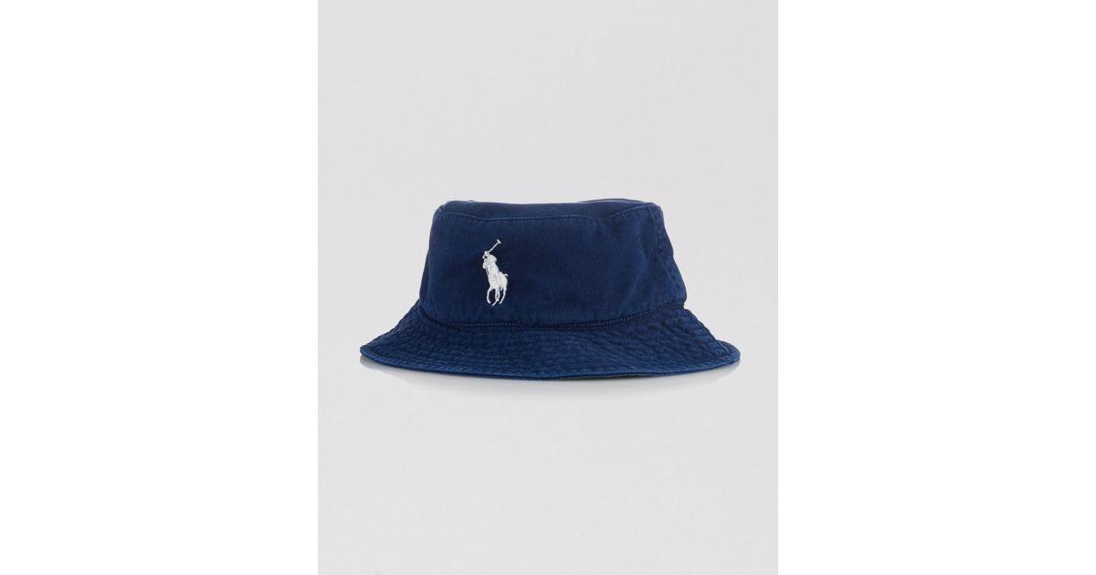 ed7efafb Ralph Lauren Polo Us Open Chino Bucket Hat in Blue for Men - Lyst