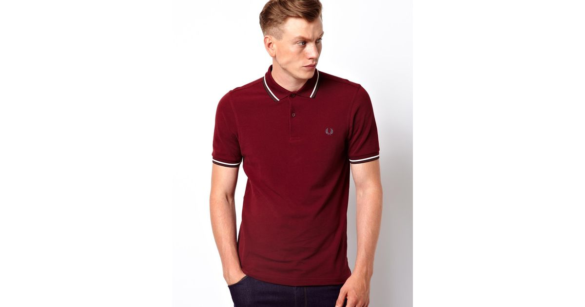 9a2fa2d75 ASOS Fred Perry Twin Tip Polo in Slim Fit Polo in Red for Men - Lyst