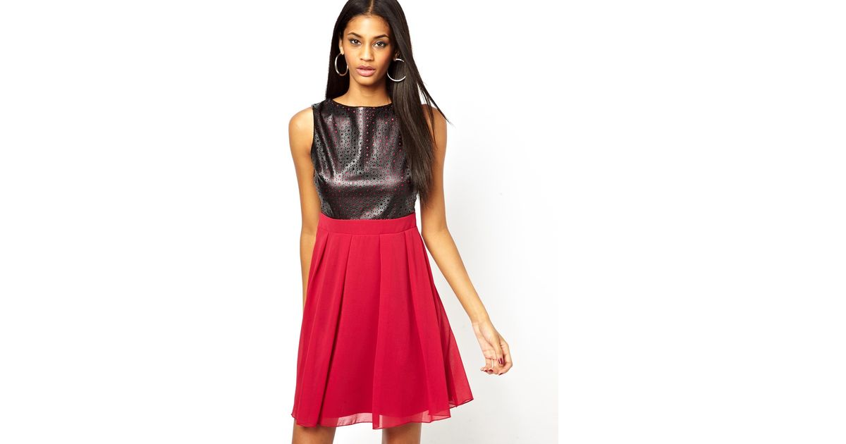 Lyst - Little Mistress Babydoll Prom Dress with Pu Panel in Red