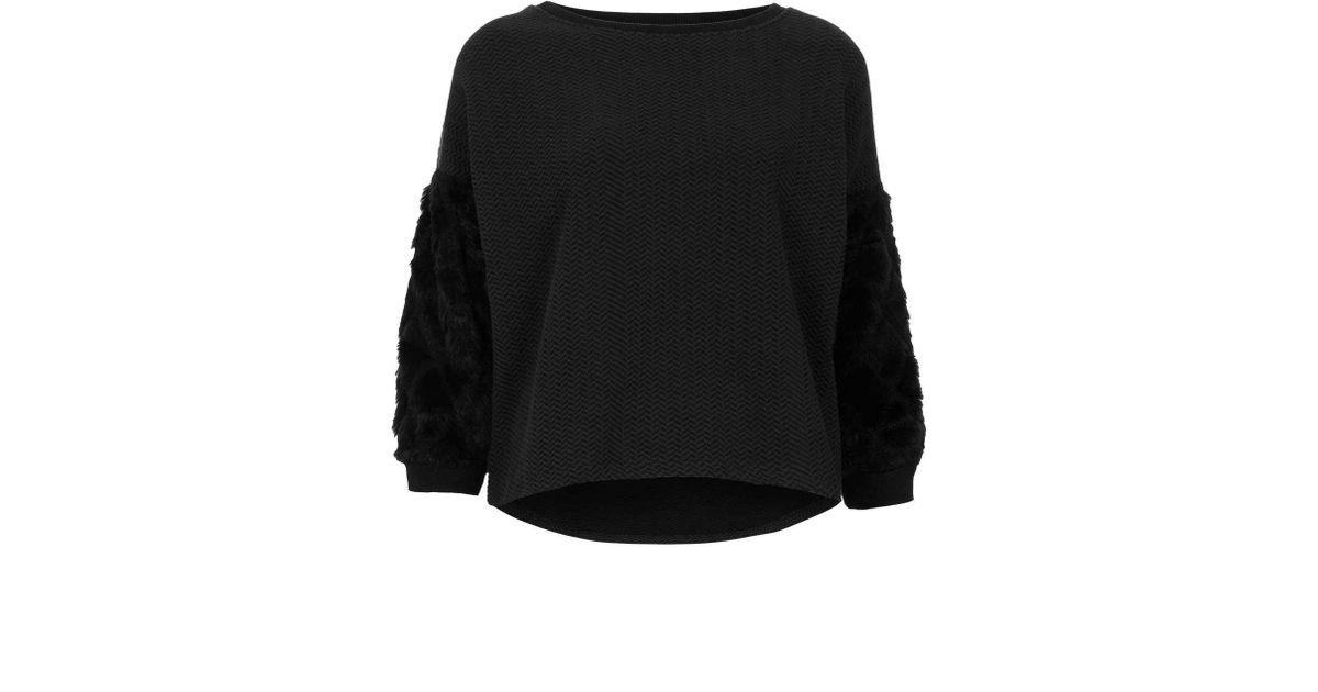 ee815747 TOPSHOP Diamond Fur Sleeve Sweat in Black - Lyst