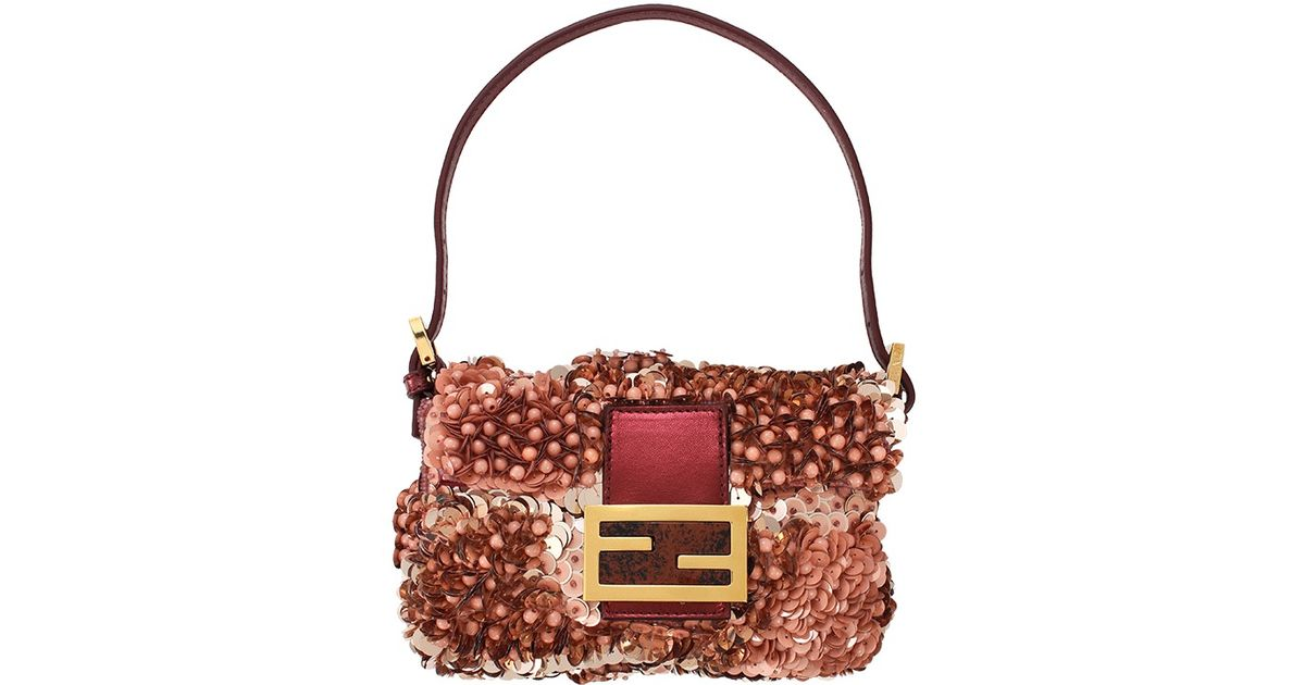 87a60d02860f Fendi Borsa Mini Sequin Baguette in Pink - Lyst