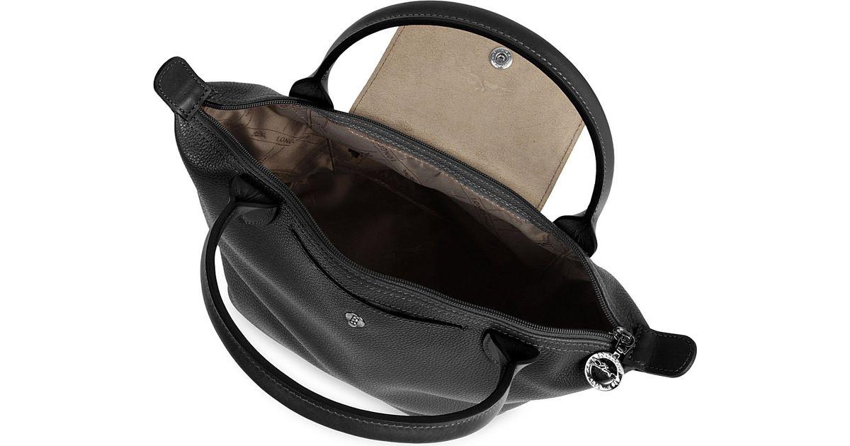 0c58226efd43 Longchamp Veau Foulonne Leather Handbag in Black - Lyst