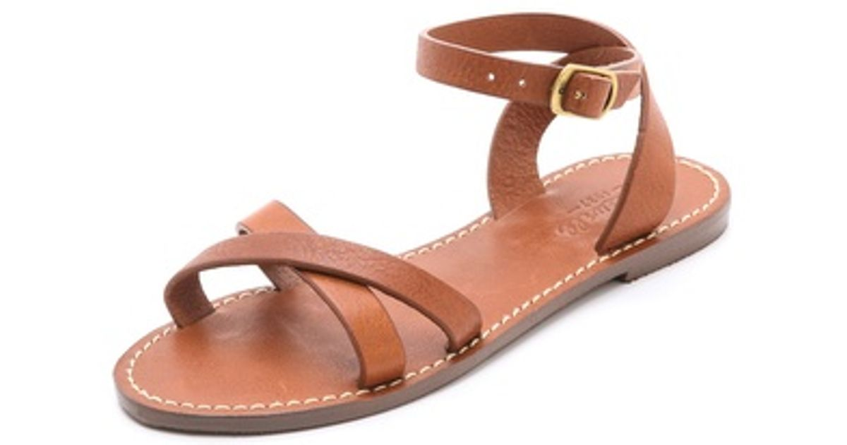 bf917a7eaeb877 Lyst - Madewell Crisscross Boardwalk Sandals in Brown