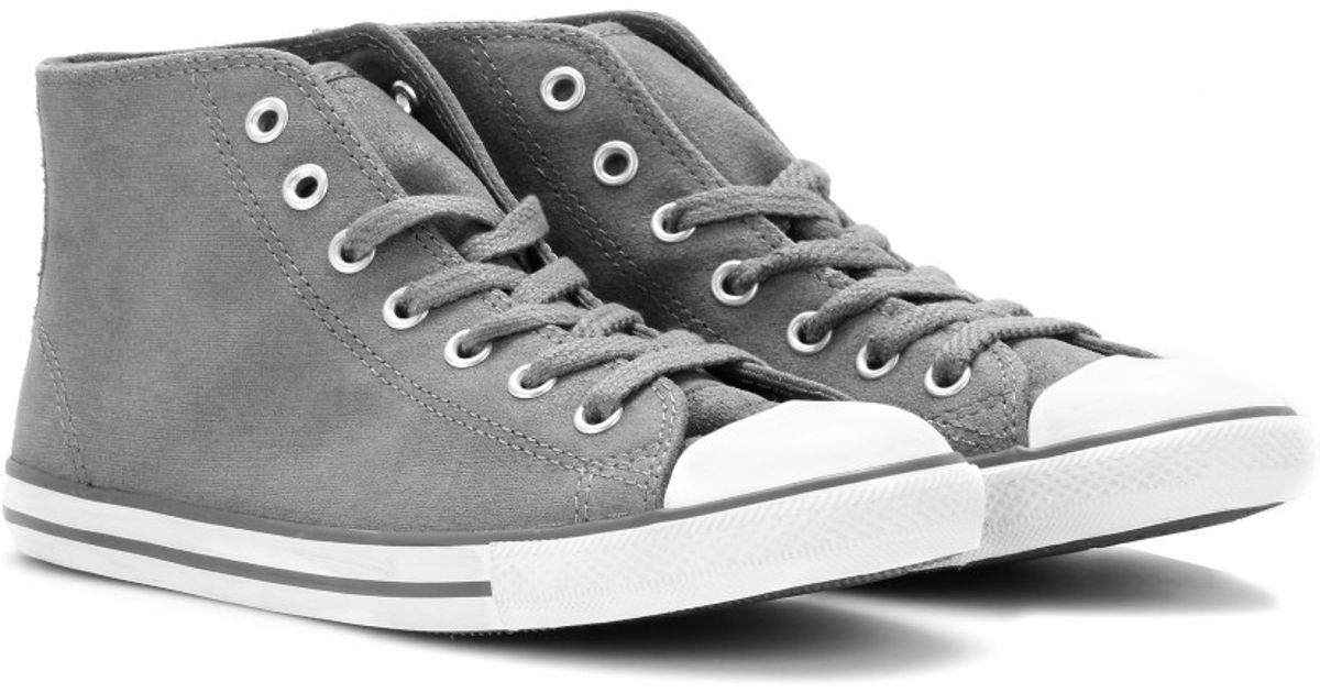 9b72bfe4fd5c Lyst - Converse Chuck Taylor Dainty Leather Midsneakers in Gray