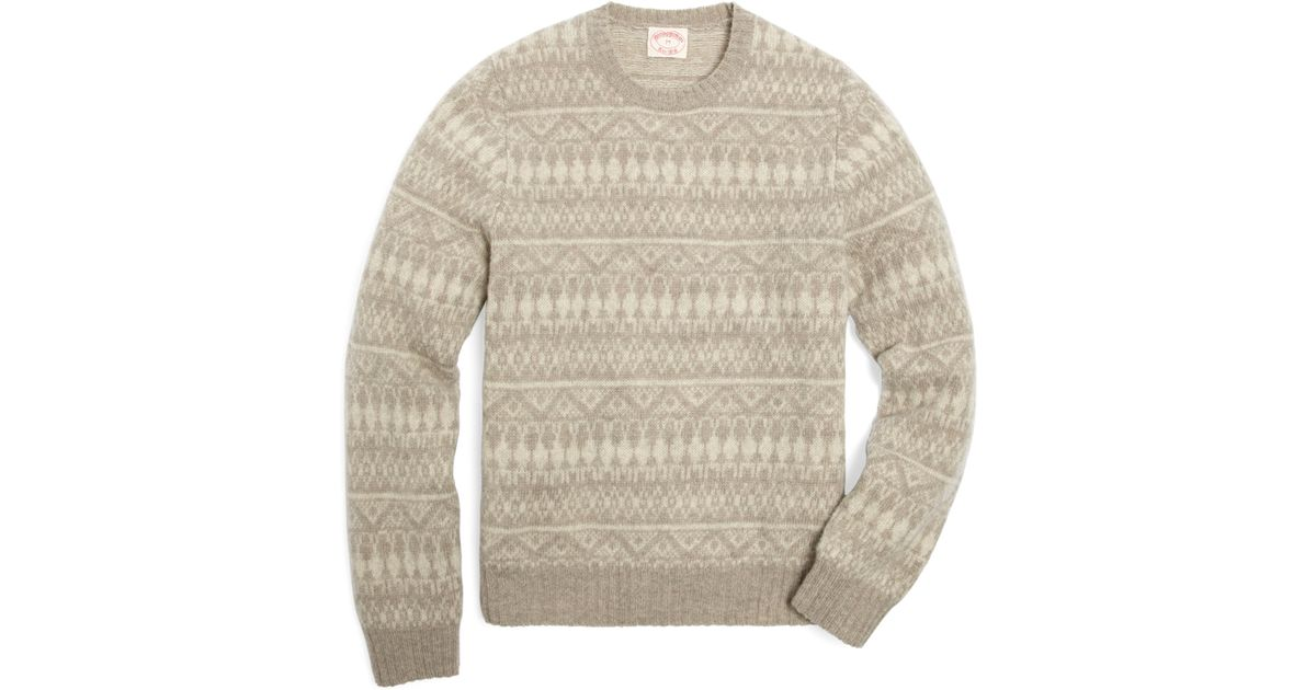 Brooks brothers Shetland Tonal Fair Isle Crewneck Sweater in Gray ...