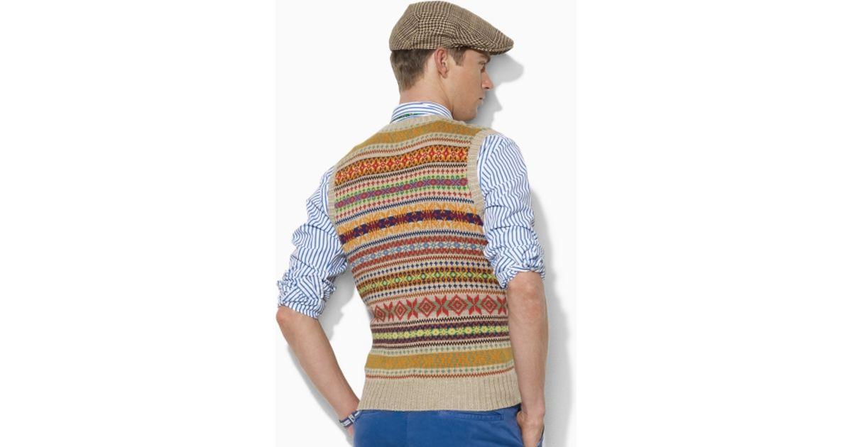 Polo ralph lauren Fair Isle Sweater Vest in Brown for Men | Lyst