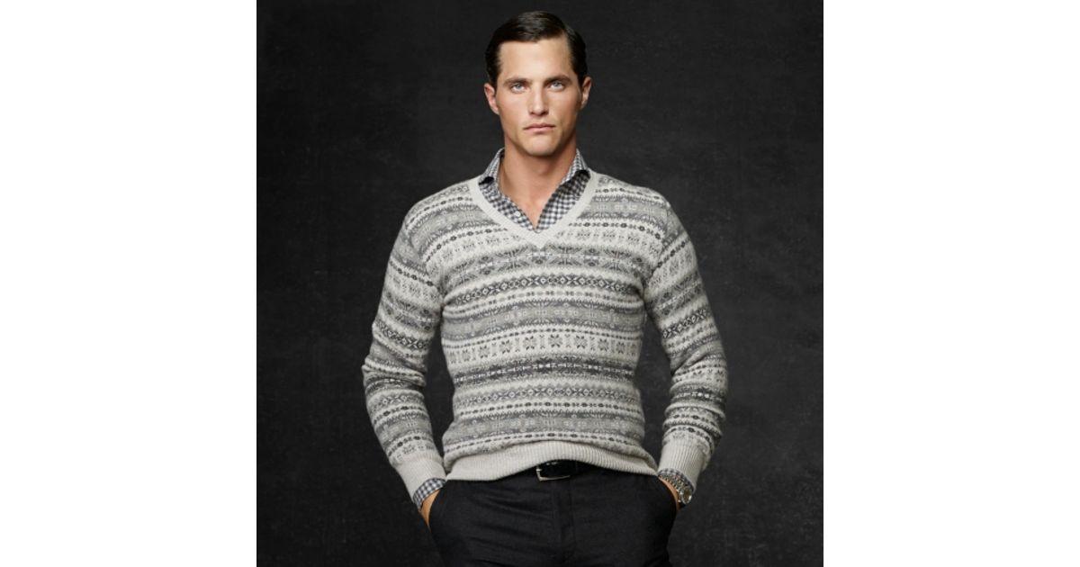 Ralph lauren purple label Fair Isle Vneck Sweater in Gray for Men ...