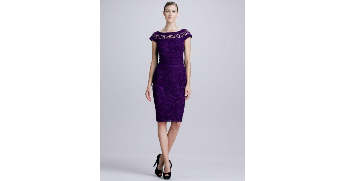 Lyst - Tadashi Shoji Boatneck Lace Cocktail Dress in Purple