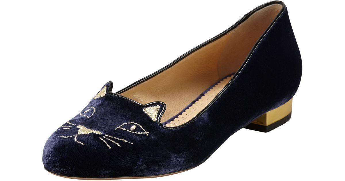 Charlotte Olympia Navy Velvet Kitty Flats o7ffvO