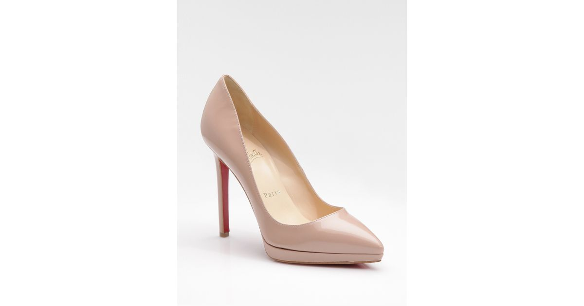 c3a2f241407b ... coupon code lyst christian louboutin pigalle plato 120 patent leather  platform pumps in natural e5c47 422ed