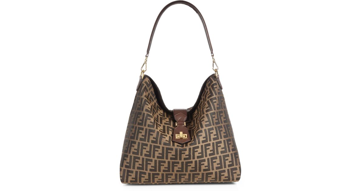 1fbaa4d46a usa fendi vintage. pequin pattern shoulder bag f7b97 0a190  closeout lyst  fendi zucca small hobo bag in brown 45aee 07ac0