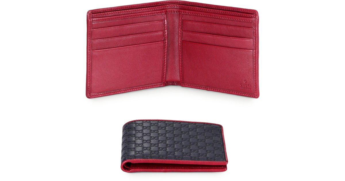 068ff9576d79 Gucci Micro Guccissima Leather Bi Fold Wallet in Red for Men - Lyst